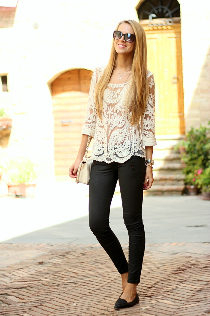 Lace and waxed denim, Romantic and edgy, outfit, fashion