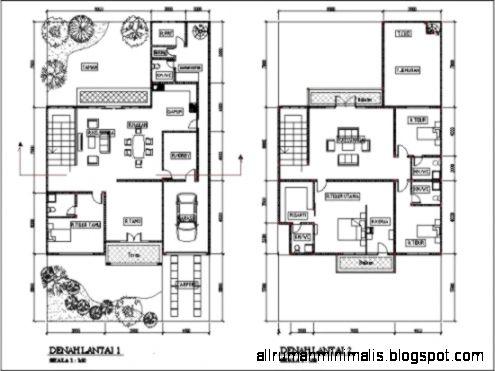 Denah Rumah Minimalis Modern 2 Lantai Type 45 – 90 – 100