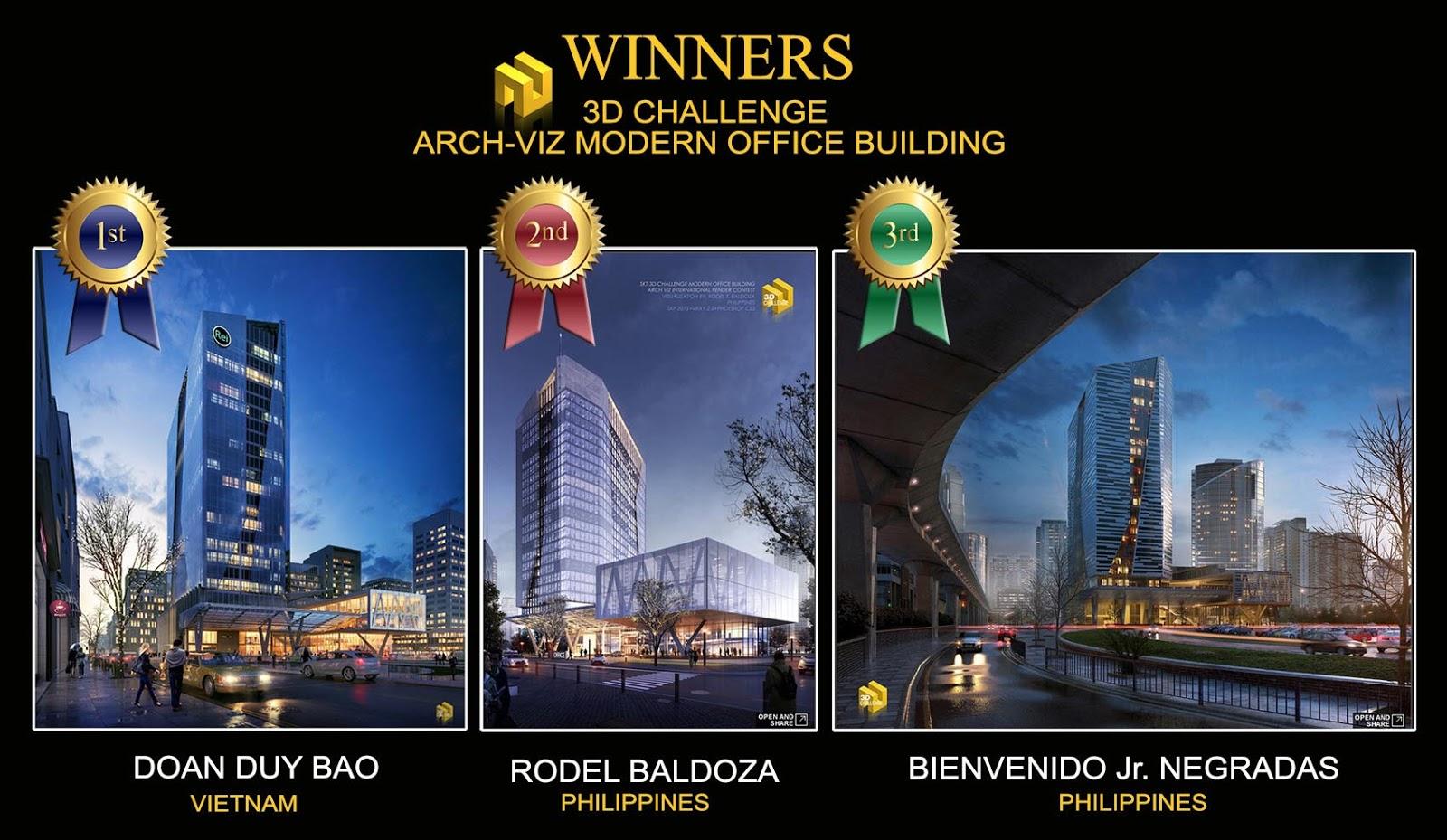 Winners 3D challenge archviz modern office building contes