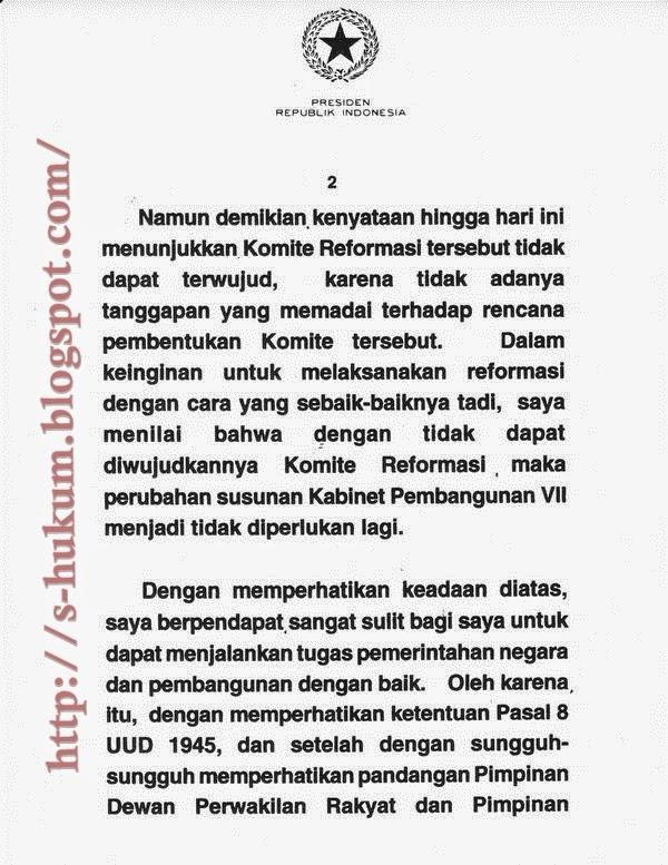 Naskah Pernyataan Presiden Soeharto Berhenti