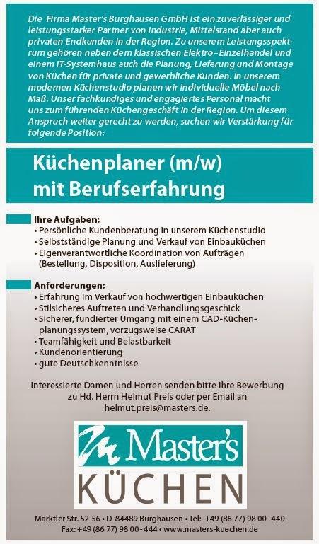 Arbeitsmarkt Inn Salzach: Masters Küchenstudio in Burghausen sucht ...