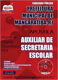 Apostila concurso Prefeitura de Mangaratiba 2015 (RJ) Auxiliar de Secretaria Escolar