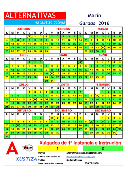 Marín. Calendario gardas 2016