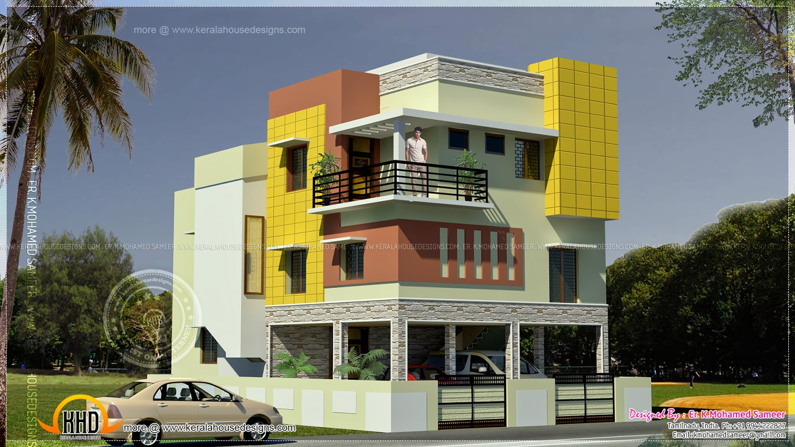 Duplex house in tamilnadu kerala home design and floor plans for Home designs in tamilnadu