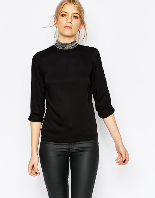 vero moda black high neck contrast collar top, silver high neck black top, embellished high neck top,