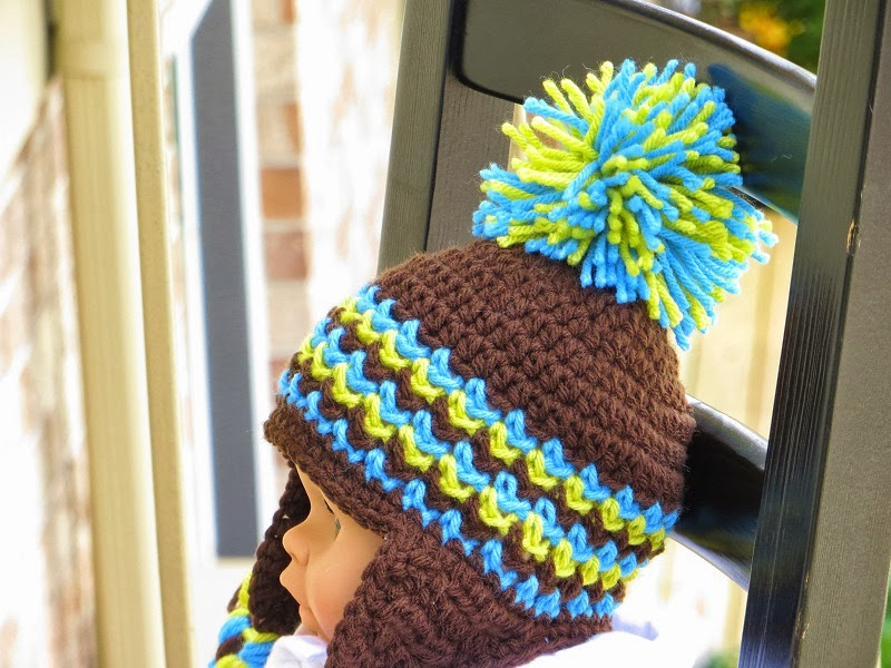 Newborn Crochet Hat Pattern With Ear Flaps : Crochet Dreamz: Ear Flap Hat Crochet Pattern for Boys and ...