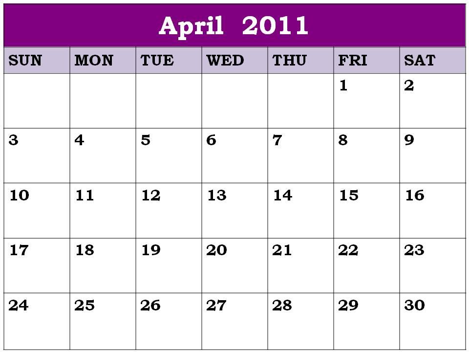 blank june 2011 calendar. april 2011 blank calendar.