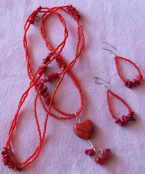 Collar corazón rojo corales, mostacillas con aretes con plata 950l  Cod 2473  S/ 65.00 Nuevos Soles