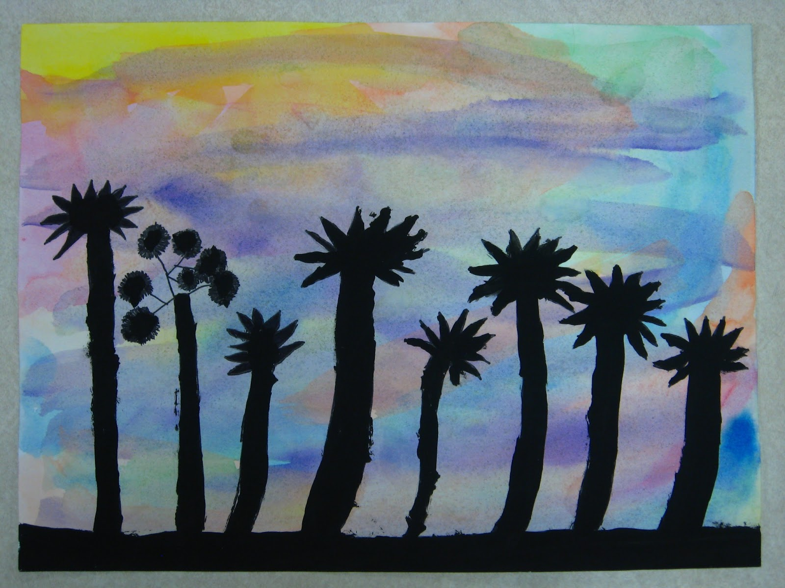 Miss Youngs Art Room 4th Grade Sunset Silhouette Paintings