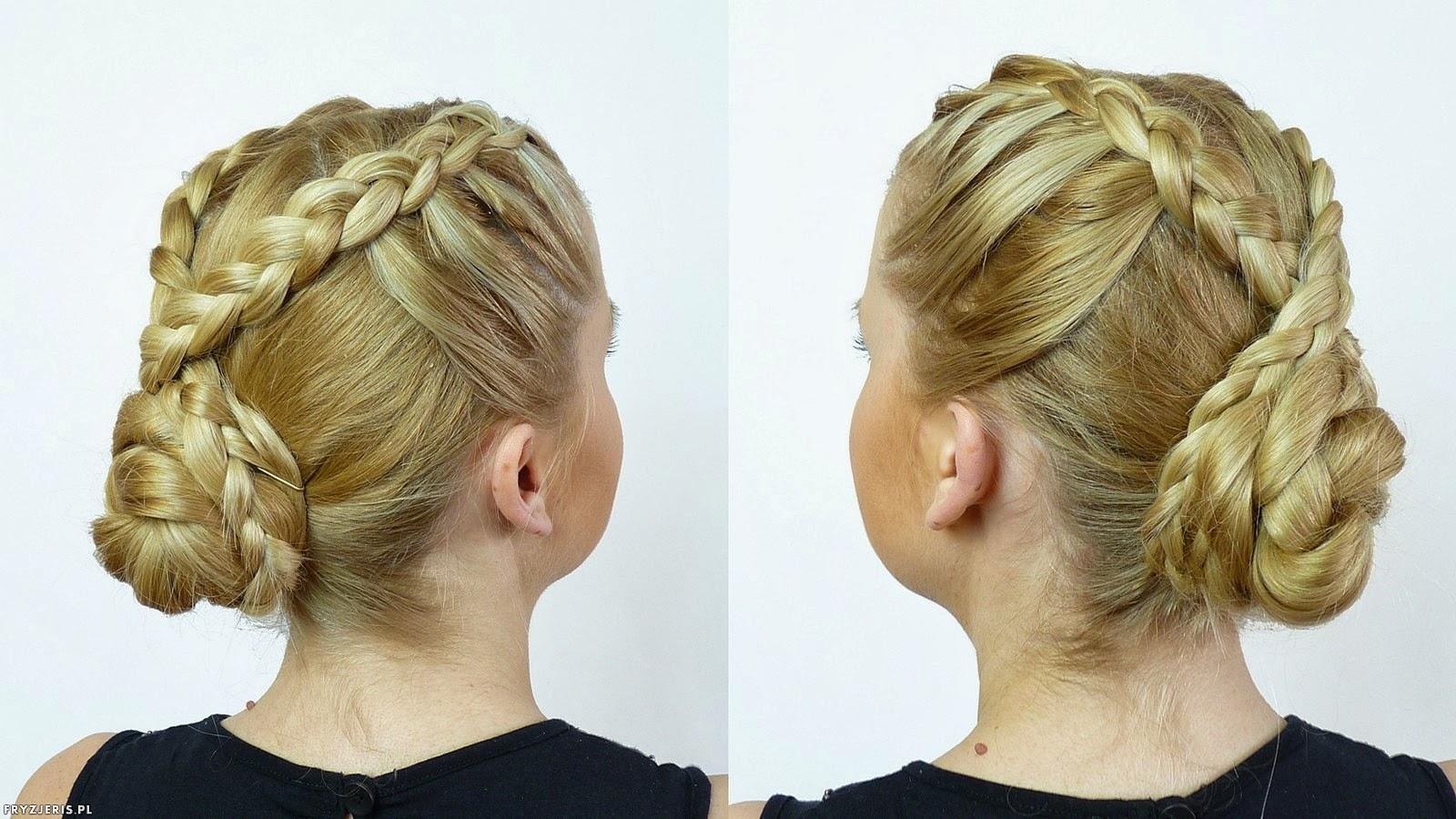 fryzura kok z dwoma warkoczami - krok 3
