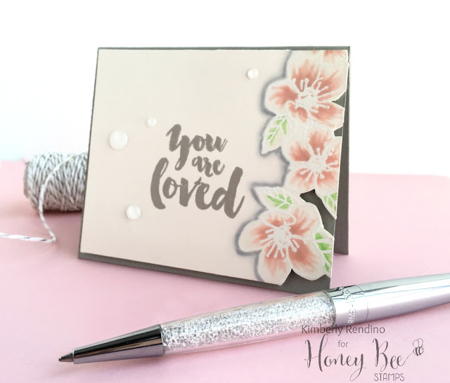 handmade card | by Kimberly Rendino | Honey Bee Stamps |zig clean color real brush markers | pretty pink posh | swarovski pen