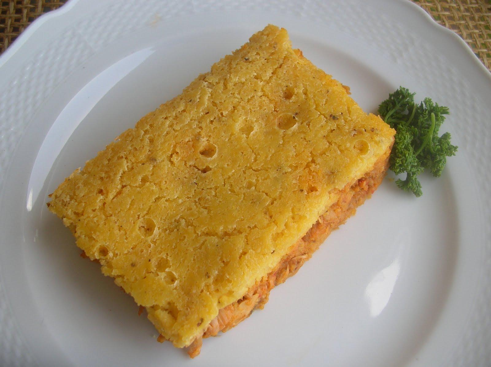 Polenta de maíz pilao rellena con pollo