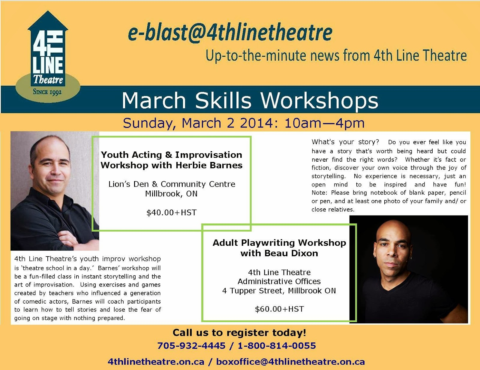 image 4th Line theatre Millbrook Ontario March Workshop Flyer