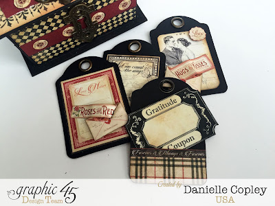 Coupon tag and box handmade gift using Graphic 45 Communique scrapbook paper Danielle Copley
