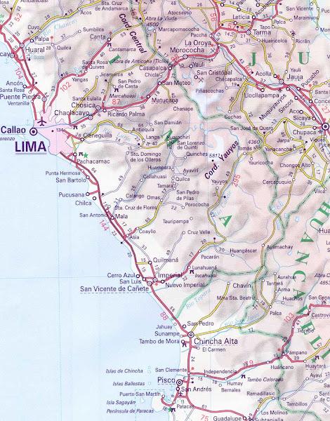 Mapa da região de Lima - Peru