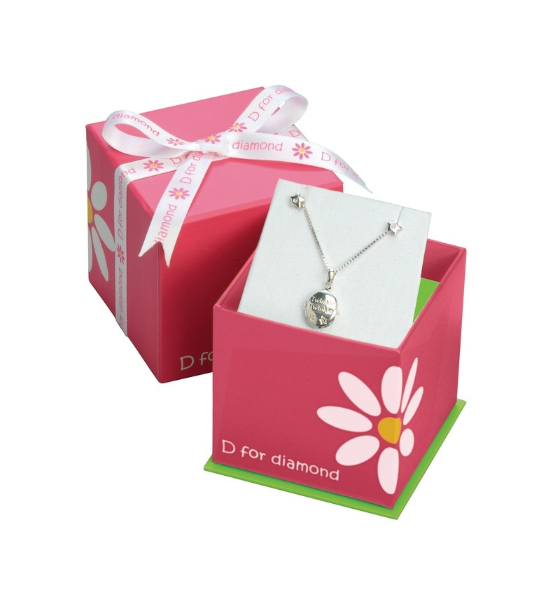 D for Diamond - Girls Silver Ballet Shoes & Bow Pendant