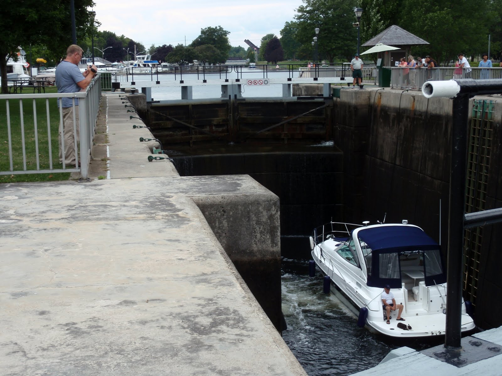 A boat going through one of many locks.