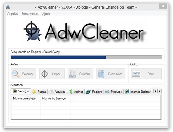 Tela inicial do programa de remoção de pragas instaladas no navegador