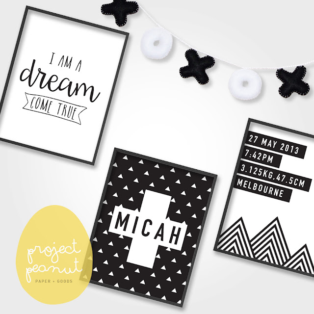 Set of 3 Printable Baby Birth Announcement Wall Art | projectpeanut.com.au