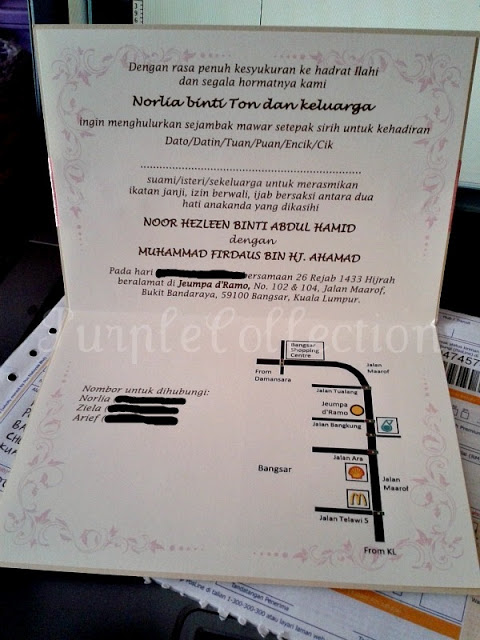 Best Seller Wedding Invitation Card + Map, wedding invitation cards, malay wedding cards, best seller wedding card, peach ribbon card