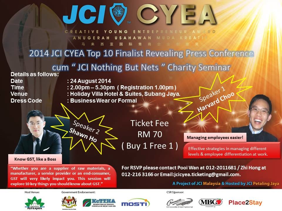 2014 JCI Creative Young Entrepreneur Award Top 10 Finalists Revealing Ceremony & Charity Seminar