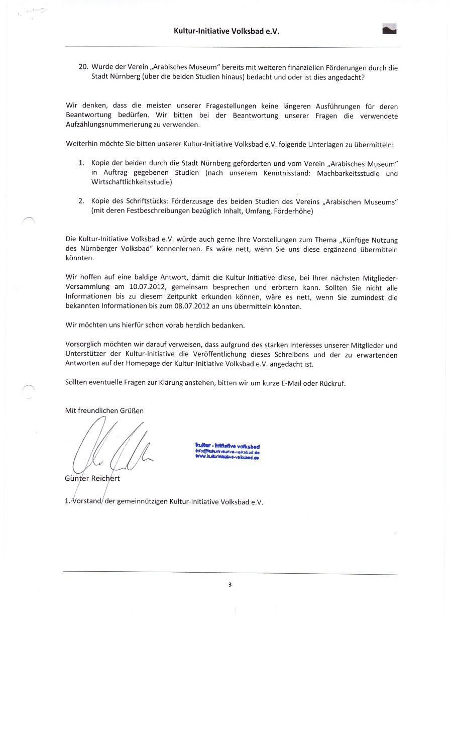Screiben an Herrn Oberbürgermeister Maly vom 21.06.2012
