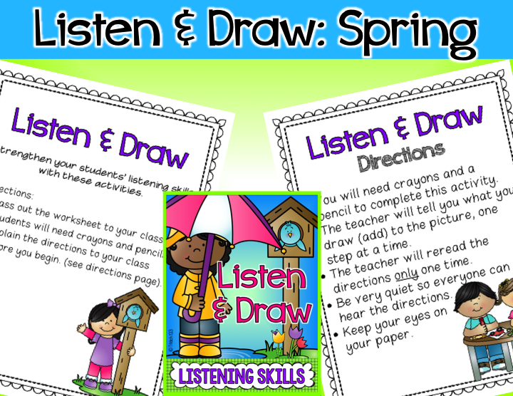 Listen & Draw: Spring, Earth Day, Easter, Weather and FREEBIE ...
