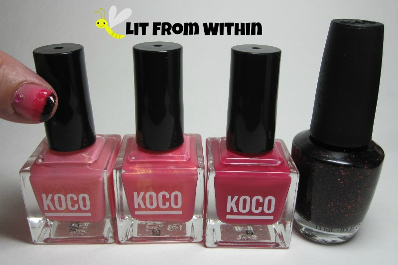 Bottle shot:  Koco I'll Pink To That, Strike a Posey, Punch-Drunk, and OPI Today I Accomplished Zero