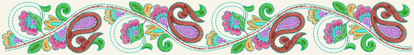 süße Paisley Figur Stickerei-Designer Spitzen Grenze für Saris und Kleider.