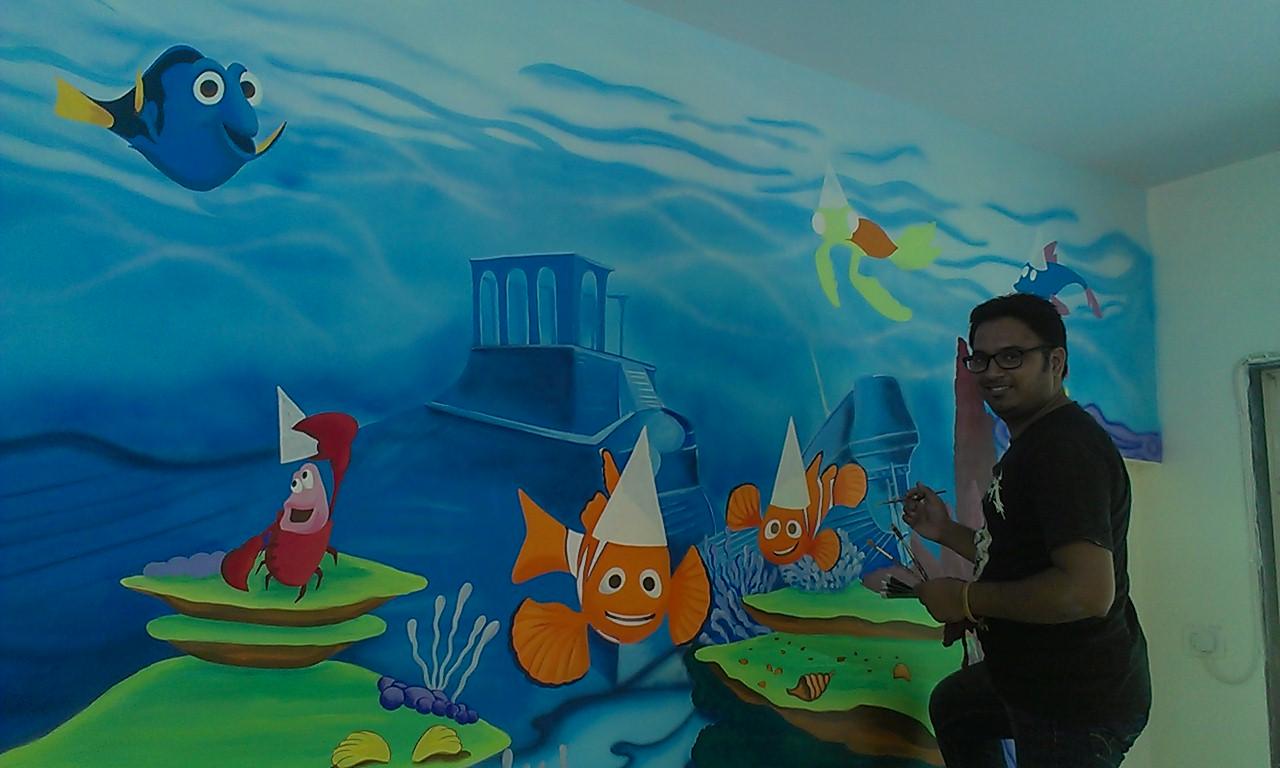 Day care school classroom cartoon painting chambur for Cartoon mural painting