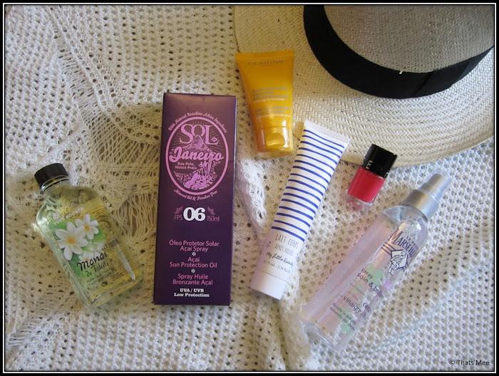Beauty case holidays sol Janeiro huile monoi Yves Rocher, lait après-soleil my little beauty marinière, vernis rose mini Sephora, spray brillance cheveux Le Petit Marseillais