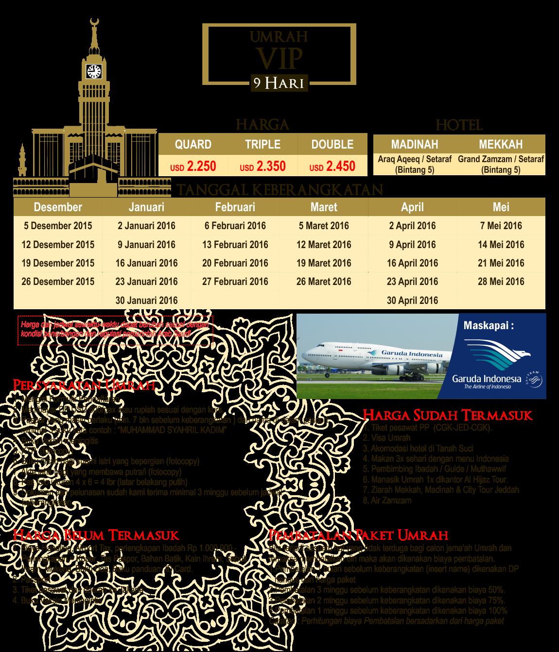 Harga Paket Umroh VIP 9 Hari Thaun 2016 Biro Travel Alhijaz