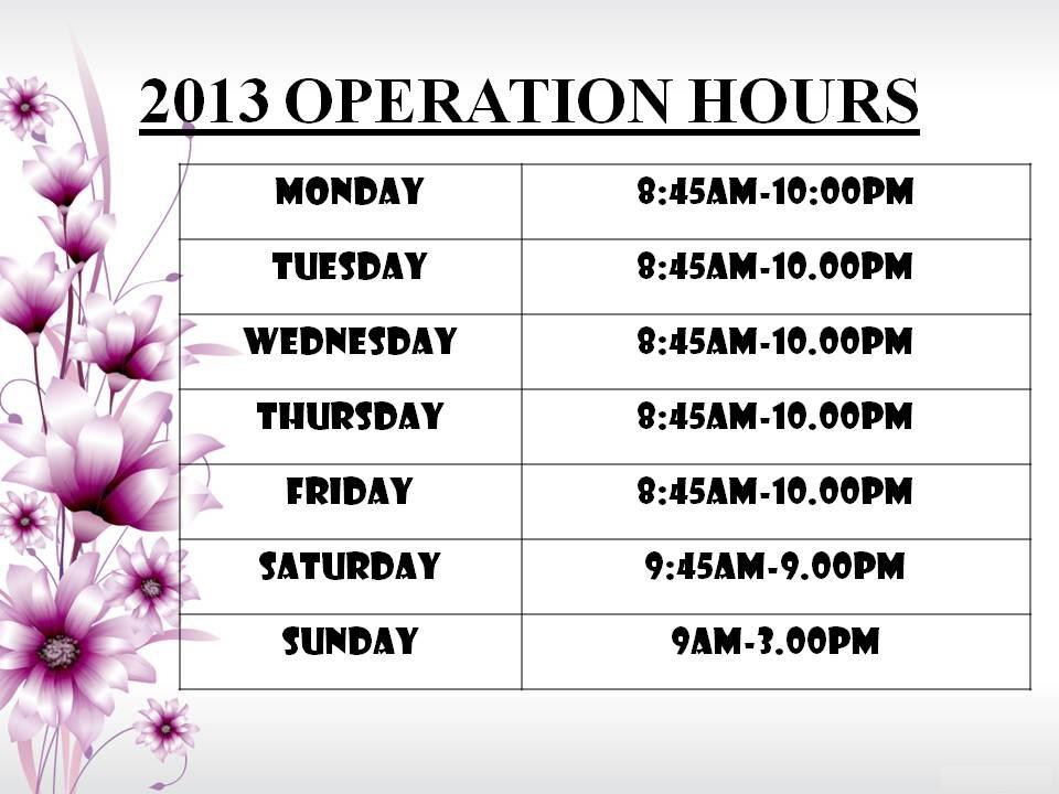 Alpha Enrichment House: OPERATION HOURS