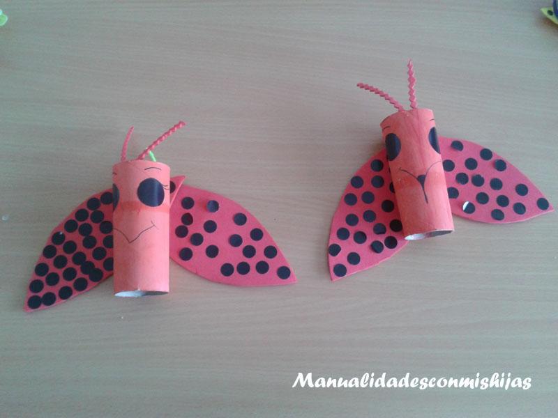 Mariquita reciclada con tubo de cartón - Molde gratis