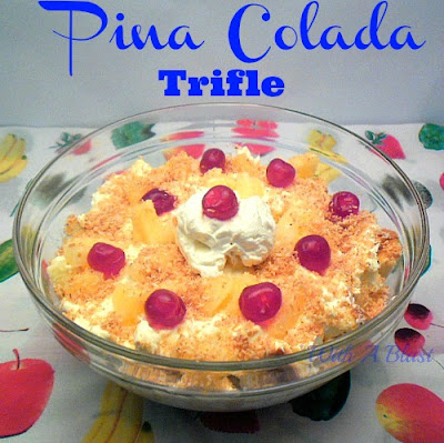 Pina-Colada-Trifle   ~  a taste of tropical explosion! ~   #pinacolada #dessert #trifle via:withablast.blogspot.com