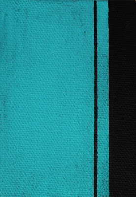 turquoise and black color field painting