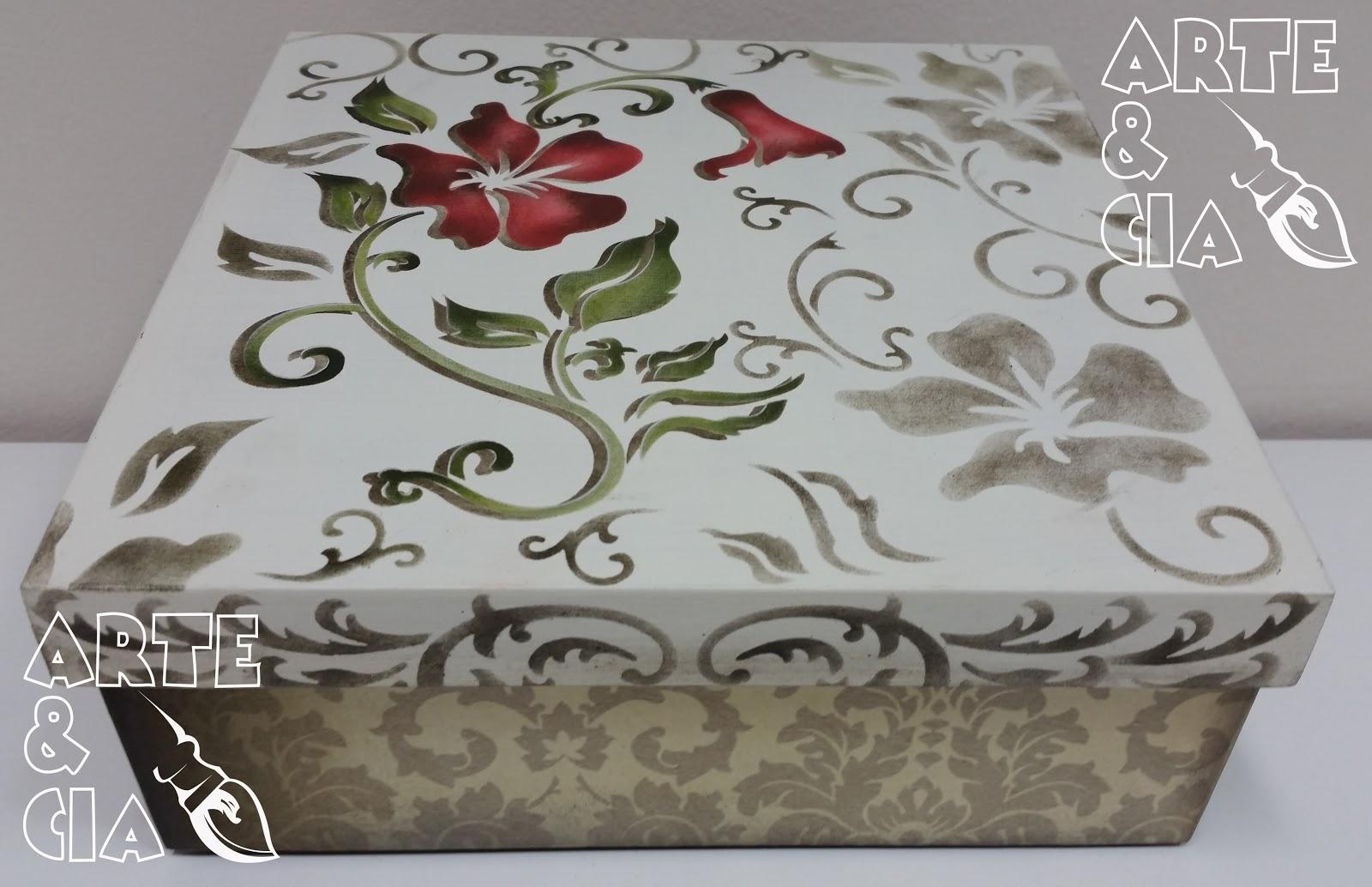 Caixa de MDF com Stencil Duplo Flor Vermelha Arte & Cia Arte  #65433C 1600x1034