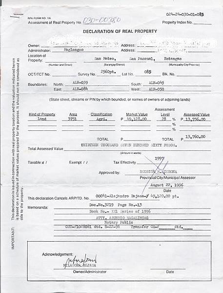 Tax Declaration Property Philippines