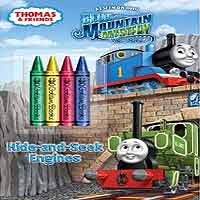 2012 Thomas the train book Hide-and-Seek Engines 48 pages with 4 stocky coloring page crayons