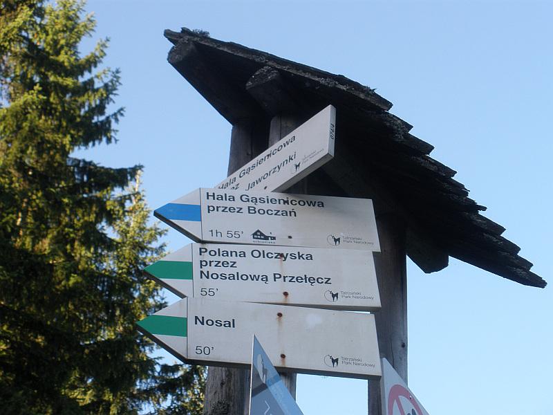 Znaki szlaków w Kuźnicach.