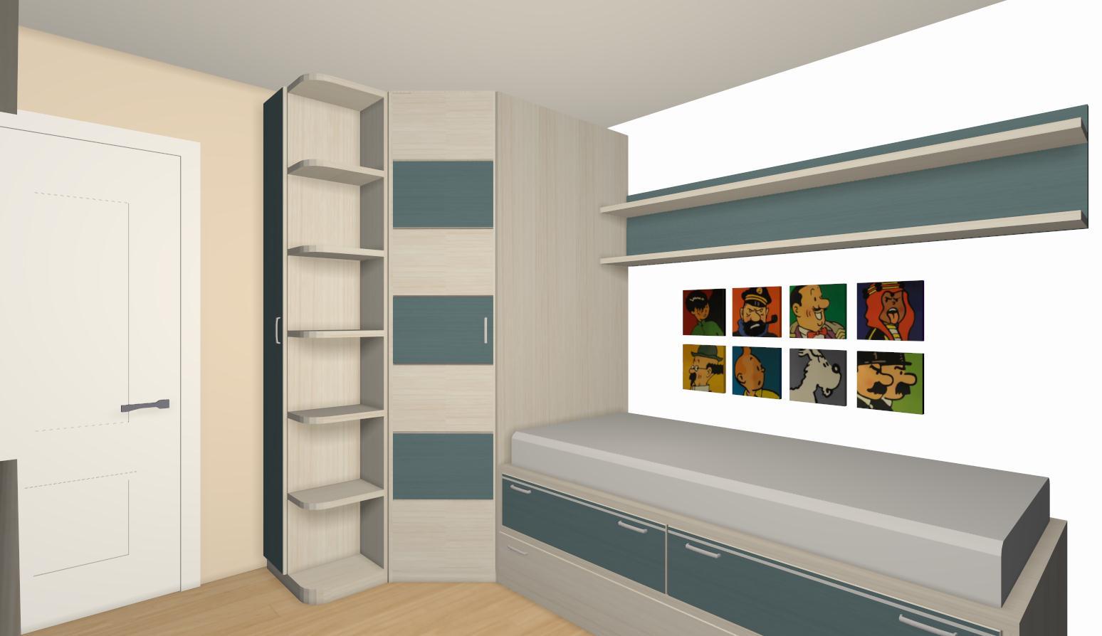 La habitaci n juvenil combinada en tonos arena papaya y - Estanterias para dormitorios ...