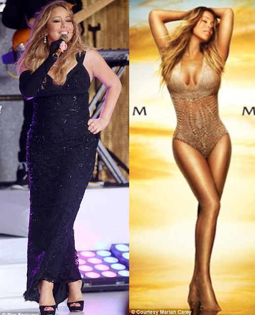 Mariah Carey slammed for heavily airbrushing her album image (See before & After Photos)