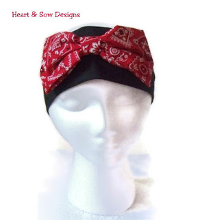 Black and Red Bandana Headband Retro Rockabilly Handmade Wide