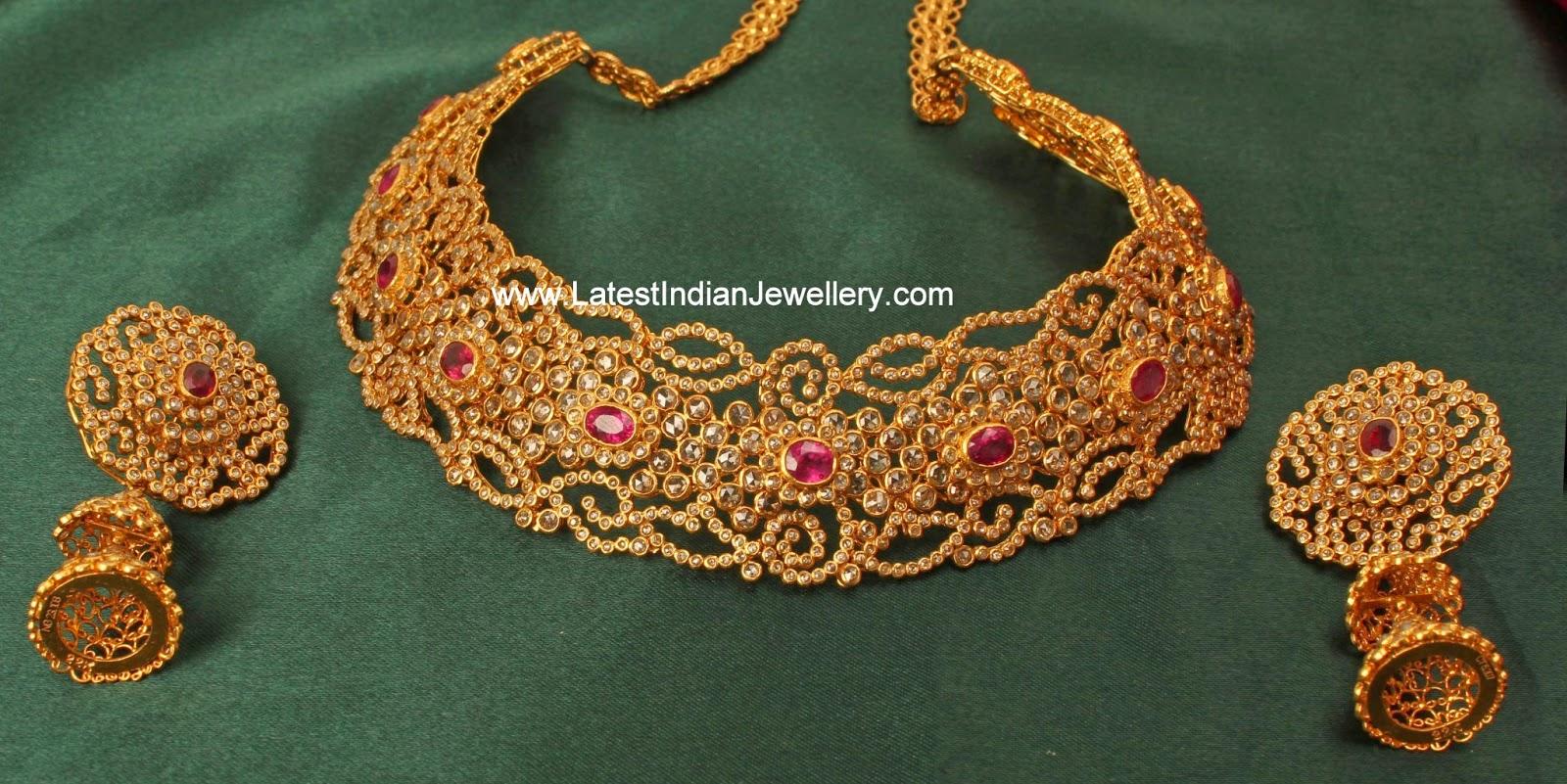 Chakri Diamonds Gold Choker