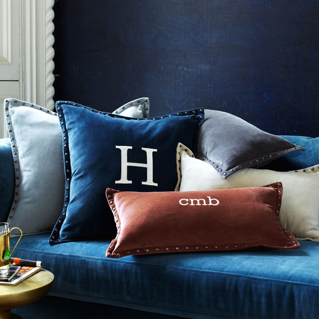 velvet initial pillows
