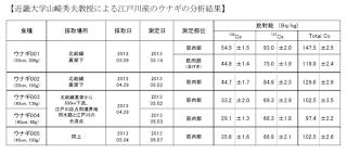 近畿大学山崎秀夫教授による江戸川産のうなぎの分析結果