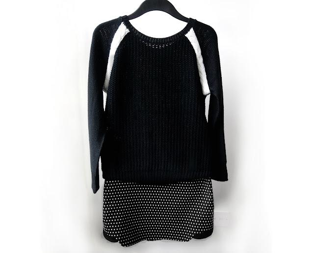 zara contrast jumper , topshop skirt