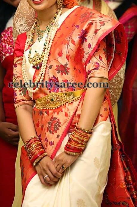 Bride in White Pythani Silk Saree