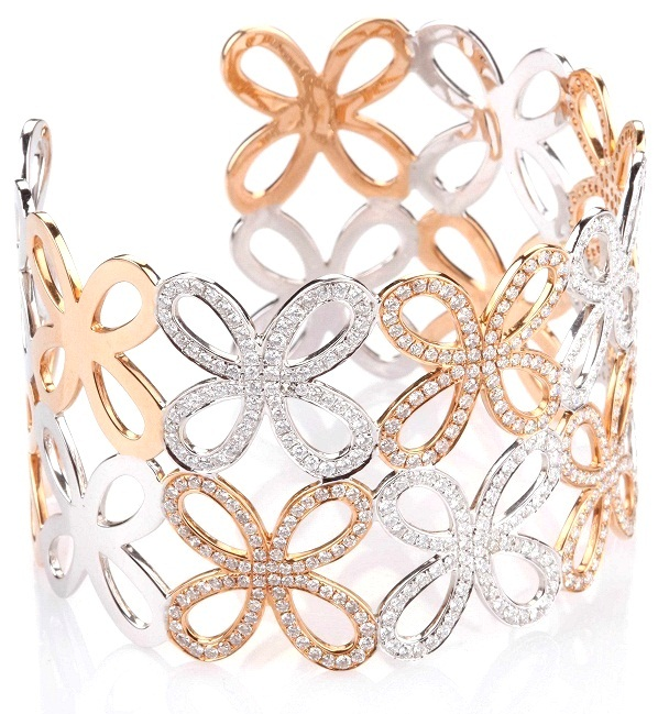 Entice Rose Gold & Diamond Floral Cuff