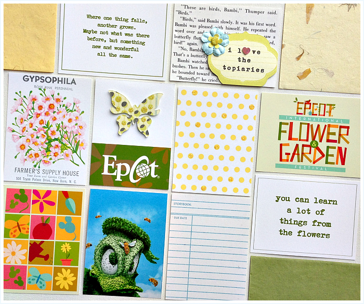 3x4 journaling and insert cards for flowers & gardens, sources linked on blog - Disney inspired memory keeping | www.anyhappylittlethoughts.com
